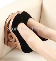 New arrival !!2014 flock shallow abnormal high wedge heels high platform specil designer women pumps