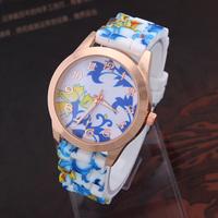 Women Dress Watches Brand Quartz Watch Silicone Wristwatches Relogio Feminino Flower Printed Fashion watch Discount