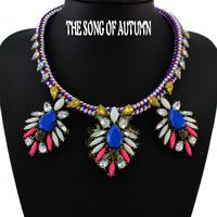 2014 Fashion Acrylic Necklaces & Pendants Rhinestone Vintage Flower Jewelry Statement Necklace