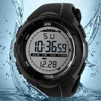 Skmei Men Sports Military Watches LED Digital Man Brand Watch, 5ATM Dive Swim Dress Fashion Outdoor Boys Wristwatches (black)
