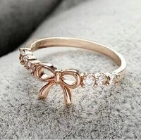 fashion hot sale brief cutout rhinestone bow finger rings female wholesale