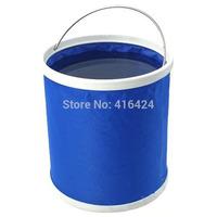 9LOutdoor Folding Fishing Camping Car Washing Hiking Water Bucket Barrel 9L Red/Blue