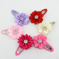 wholesale --girl  hairclip baby rhinestone flower hair clip DIY girl hairpins children hair accessories 6 colors free shipping