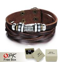 OPK JEWELRY Trendy Brown Leather Bracelet & Bangle Men Fashion Wrap Wristband Pulseira Masculina Couro free shipping, 826