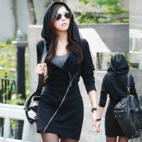 2014 New Europe Style Women's Hoodie Oblique Zipper Hoody Sweater Woman Moletons Feminino Exo Hoodie Free Shipping KIKEY J3087