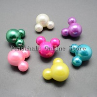 Imitated Pearl Acrylic Buttons,  Mouse Head,  Mixed Color,  26x30x20mm,  Hole: 4mm; about 76pcs/500g