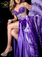 Printed Chiffon And Satin Fabirc Sexy Design Beading Handwork Long Prom Dress 2014 OL102318 Free Shipping