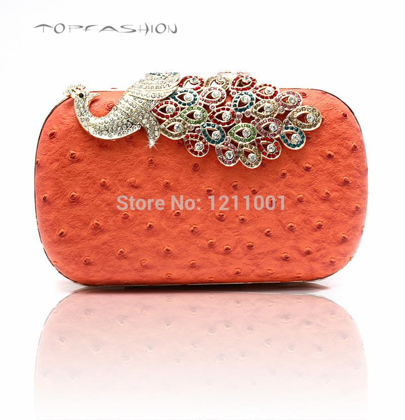 Classic Newest design 2014 fashion luxury pu leather women clutches ostrich pu hard cased clutch bag(China (Mainland))