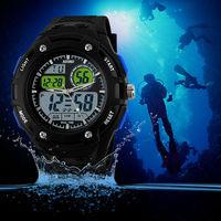 New 2014 Men Sports watch Fashion Casual Silicone dress swim dive 2 Time Zone Digital Quartz LED military watch freeshipping