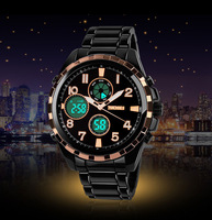 Skmei Waterproof Quartz LED Watch with Dual Movt Day/Date Design Round Dial and Steel Watch 30m Waterproof Military Sports Watch