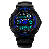 New 2014 Men Sports Watch Casual Dress watches 2 Time Zone Digital Quartz electronic LED   dive Military  wristwatches
