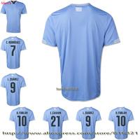 Uruguay soccer jersey 2014 Top thailand quality L.SUAREZ uruguay jersey C.RODIGUEZ  D.FORLAN football uniformsfree shipping