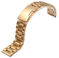 Luxury Golden Watch Men Women 20mm Golden Steel Watch Band Strap Bracelet Curved End High Quality