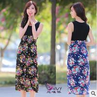 New arrival 2014 summer  fashion vestidos bohemian long o-neck cotton desigual flower print clothing plus size casual dress W080