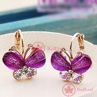 RedLeaf Fashion Sweet Butterfly Resin Crystal Rhinestone Ear Studs Earrings Jewelry Worldwide free shipping