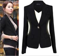 2014 New Women's Blazer Plus Size Suits for Women Work Wear Black Blazer for Women S to XXXL Size OL Jackets