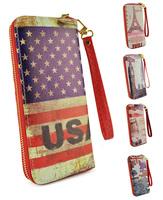 Free Shipping 2014 Fashionable Retro Print Mosaic Pattern With Handle Grab Women Wallet Golden Zipper Ladies Purse LBQ249