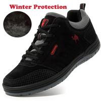 leather fur zapatillas outdoor men waterproof men boots men shoes cow leather
