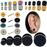 Wholesale 2Pcs Stainless Steel 12mm Fake Cheater Illusion Ear Plugs Barbell Earrings Hot Sale Piercings Body Jewelry