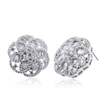 Round flower earrings18k gold plated with top quality of Cubic Zircon Allery Free Propose Marriage Gifts YE3422A