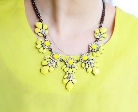 2014 New Fashion Shourouk Gold Chain Choker Vintage Rhinestone Neon Bib Statement Necklaces Pendants Women Jewelry