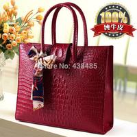 New 2014 Crocodile Genuine Leather Bags Handbags Women Famous Brands Tote Bag Vintage Women Shoulder Bags Crossbody