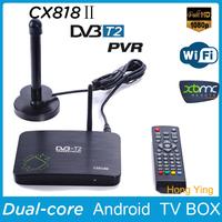Free shipping DVB-T2 PVR Android TV BOX CS818 II Media Player Amlogic Aml8726MX 1G/8G HDMI WiFi Smart IPTV Tuner DVB T2 Receiver