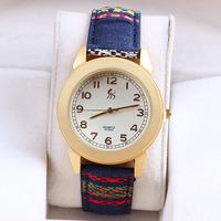 5 colors New Fashion women rhinestone cloth watches women dress watch quartz watch 1pcs/lot