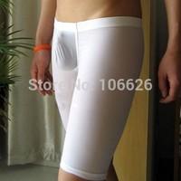 #N011 men sexy underwear lingerie extra thin transparent U bag silky lounge sleep bottoms home wear long boxers trunks