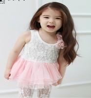 2014 lovely pink dress girl of  child girl dress for summer fashion wear sleeveless princess dress for girl