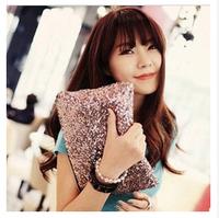 ESHOW Women Day Clutch Evening Bag Fashion Small Handbag Women Clutch Purse IPAD MINI Black Silver Pink Golden BFK0191