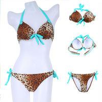 Retail Newest Push Up Women Padded Swimwear Swimsuit Women Sexy Low Waist Leopard Print Bikinis Set Plus Size S/MLbkn47