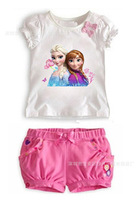 Retail+New 2015 Summer children girls clothing sets (top+short pants),baby & kids girls bowknot clothes,baby wear