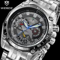 2015 Men Luxury WEIDE Japan Quartz Analog Display Clock Black Dial 30M Waterproof Hour Men Sports Watches Male Relogio Masculino