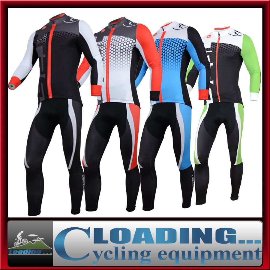 Nouveau cycle de route, 2014 pro vêtements pour hommes à vélo maillot bib pantalons costumes à manches longues à séchage rapide vélo, Équipements vêtements. bleu