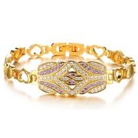 Copper Bracelets for women Cubic Color Purple Zircon Stone Women Bracelet Multi-layer Link Heart Bracelet Mothers bracelets