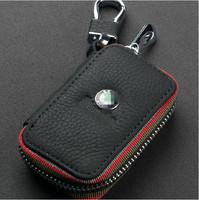 Leather Key Case For Skoda Rapid Octavia Fabia Superb HR Yeti key Bag Remote Control Keychain Key Ring