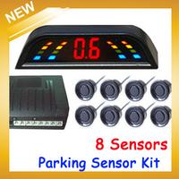 8 Sensors Multi-Color Car Parking Reverse System Radar Detector With LED Digital Display Car Parking Sensor Kit  ,Free Shipping