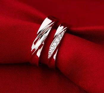 бесплатная доставка 2 шт белый кристалл обручальное кольцо, обручальное кольцо пара ювелирные изделия стерлингового серебра для мужчин и женщин ulove j293 пары