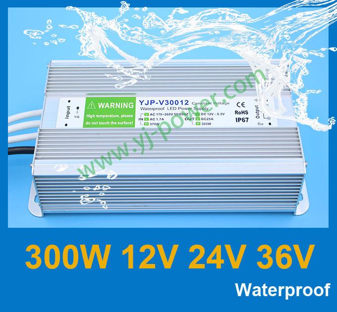 led light transformer 12v 300w|24v 300w,220 12v power converter manufacturer ROHS,CE,IP67,Fedex/DHL free shipping,2pcs/lot(China (Mainland))