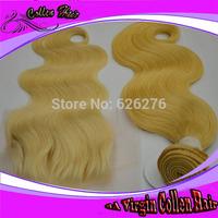 #613 Blond Hair 1PC Top Lace 4x4 Closure With 3PCS Brazilian Virgin Hair Weft, 4PCS Lots,Best Beauty Match, Body wave Hair