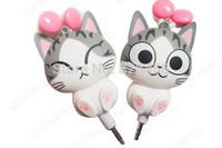 2pcs cheese cat cartoon automatic retractable earphones for mobile phone computer cartoon earphones in ear headphone