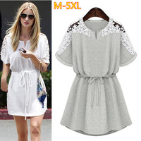 XXXXXL Big Size Summer Dress New 2014 Fashion Fat Women Clothing Slim Waist Cotton Lace Dresses 5XL/4XL/3XL/XXXXL/XXXL/XXL QZ060