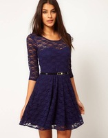 2014 spring summer new casual tunic women club plus size lipsy lace sequin bodycon sex halter slim sashes dress