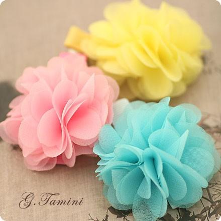 Infantil Super macia Chiffon tecido flor de verão grampos de cabelo para meninas cabelo flores acessórios de cabelo(China (Mainland))