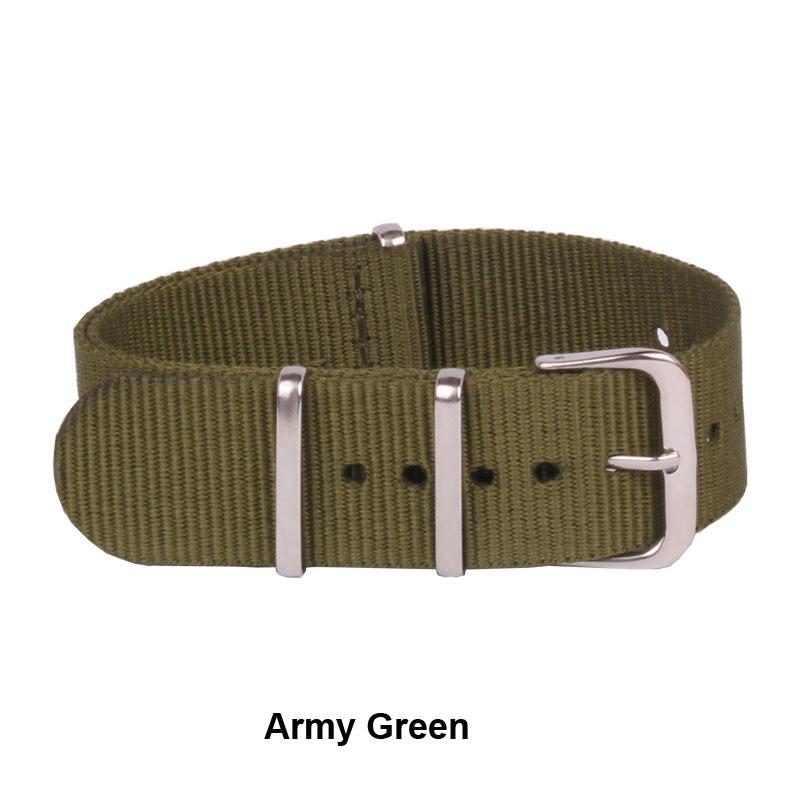 армия военные НАТО Винтаж ретро смотреть 22 мм зеленый нейлона тканые ремни ремень Группа пряжки ремня 22 мм Аксессуары