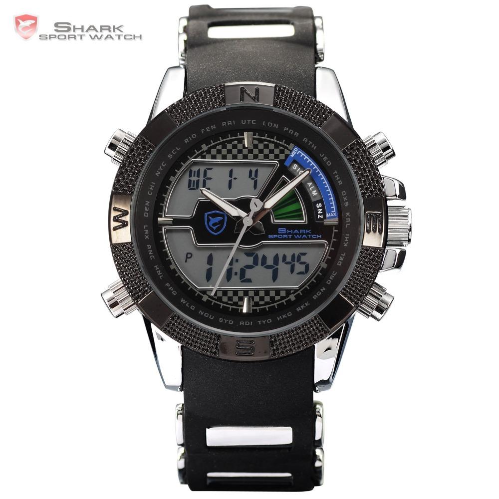 Digital SHARK Flight Hours Silicone Wristwatch For Men Strap Fun Chronograph Multifunction Quartz Outdoor Sports Watch / SH180(China (Mainland))