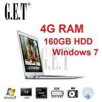 Cheap New arrival 14 inch notebook computer Ultrabook laptop PC Intel Atom N2600/D2500 1.86Ghz dual core 4G DDR3 160G HDD Webcam