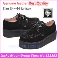 EUR 34~44Genuine leather HARAJUKU Style ViVi New 2014 Women  Round Toe Creepers Platform  Brand Fashion Creeper Shoes Men Women