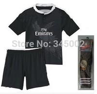 2015 Real Madrid kids 3rd black Dragon camiseta real madrid 14-15 RONALDO James Rodriguez KROOS bale RAMOS youth Soccer Jersey